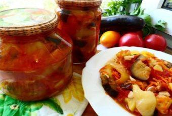 Салат на зиму из кабачков и баклажан (готовила в мультиварке)