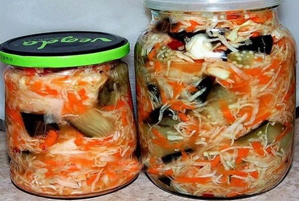 Рецепт быстрой маринованной капусты с баклажанами. Объедение!