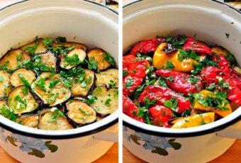 Отличная закусочка из маринованных баклажанов и перцев-гриль