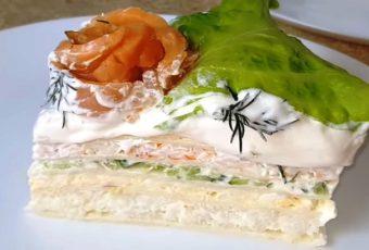 Крабовый торт с семгой