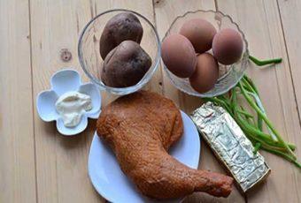 Салат Невеста с копченой — курицей пошаговый рецепт