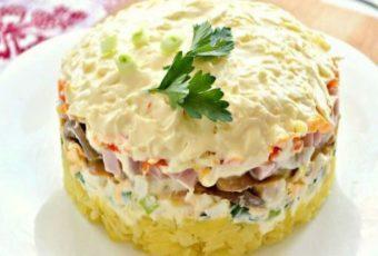 Королевский салат с ветчиной и грибами