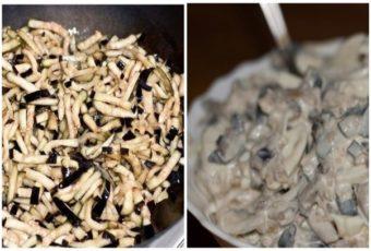 Баклажаны нарезаем соломкой, лук режем тонкими полукольцами. Солим баклажаны и оставляем на 10 – 15 минут, чтобы они избавились от горечи. Совет: если у вас домашние баклажаны или сорта, которые не горчат, этот этап пропускайте и просто посолите их во время обжаривания по своему вкусу. Лук заливаем на пару минут кипятком, потом сливаем воду и отжимаем. Смешиваем лук с сахаром (1 ст.л), уксусом столовым или яблочным (4 ст.л), доливаем кипяток около 70 мл и оставляем мариноваться на 20 минут. Разогреваем небольшое количество растительного масла и обжариваем до румяности баклажаны. Остужаем. В салатнике смешиваем лук и баклажаны, кубики отварных яиц, рубленую зелень, солим и перчим по вкусу, заправляем майонезом. По своему вкусу вы также можете добавить в этот салат еще и чесночок – пары зубчиков будет достаточно и не забудьте добавить сюда петрушку – она очень дополняет вкус салата.